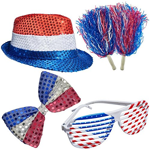 4th of July Set, Patriotic Sequin Blinking Hat, 4th of July Shutter Shade Glasses, Patriotic Bow Tie, Patriotic Color Pom Poms by Prextex
