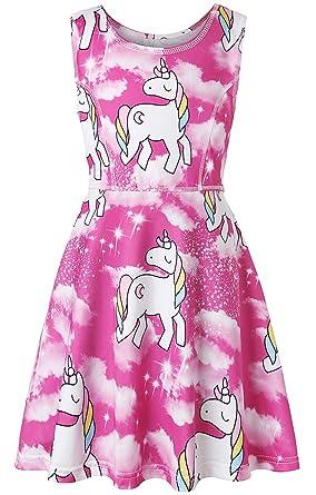 74797caa4ec6 Amazon.com  Girls Unicorn Dresses for Girl Maxi Costumes Kids Party ...