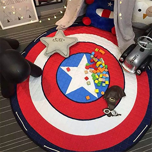 Captain+America Products : INCX Kids Play Mat/Rugs and Toy Organizer Storage Cotton 58x58 Inch Captain America