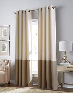 Curtainworks Kendall Color Block Room Darkening Grommet Curtain Panel, 63-inch, Ivory/Camel Blackout