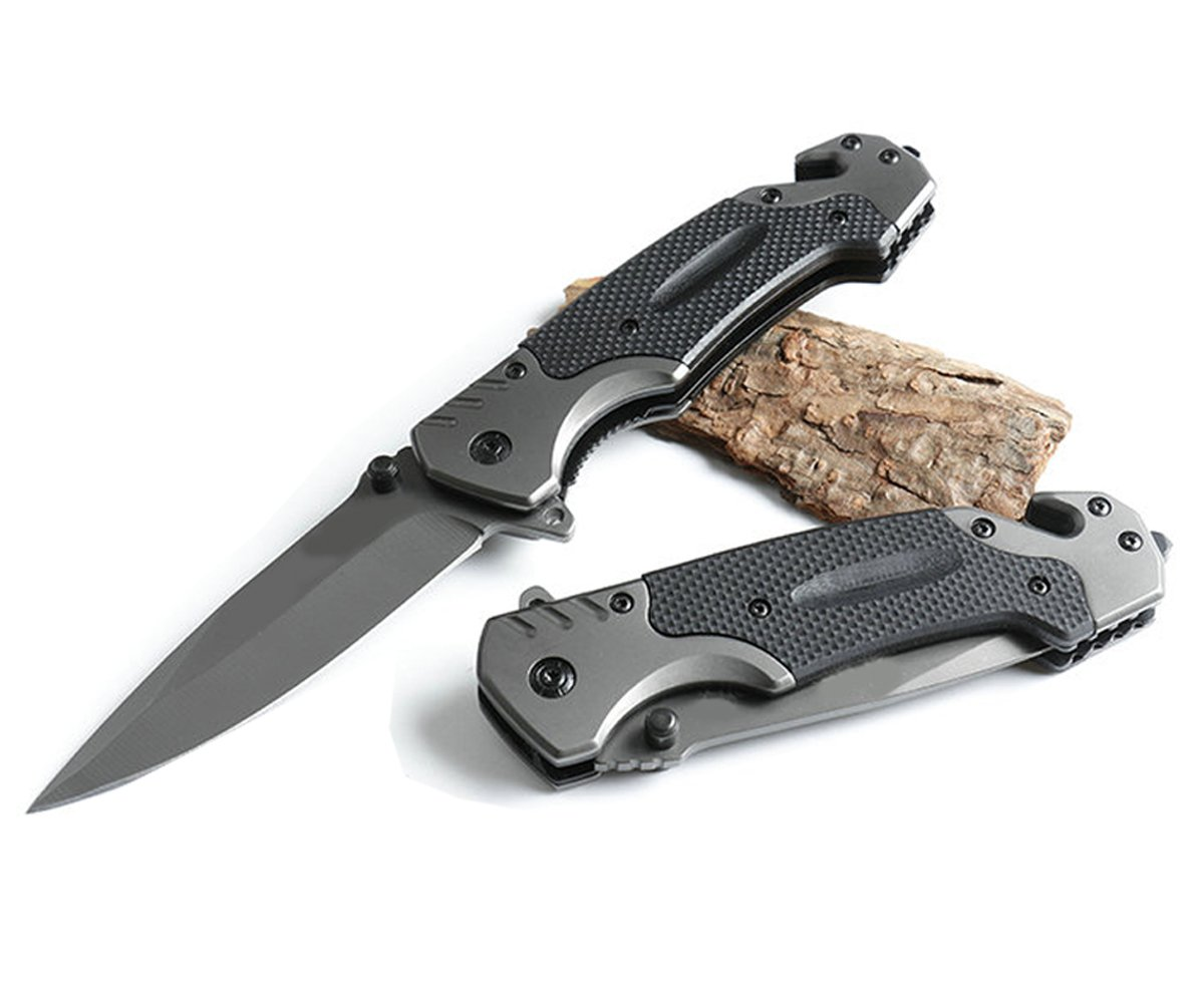ALHAKIN Folding Knife Pocket Knife with Black G-10 Handle, Gray Steel Blade and Liner Lock, Perfect for Outdoor and Daily Use