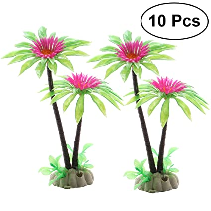 UEETEK 10 Pack Artificial Plastic Daisy Green Scenery Landscape Model Plantas de Acuario Miniascape Mesa de