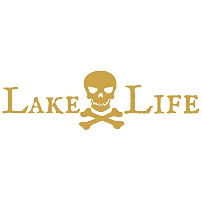 CrafteLife Lake Life Decal Bumper Sticker with Pirate Skull and Crossbones | 12 in x 3 in | Fits Cars Trucks SUVs Boats Motorcycles and More | Premium Vinyl Graphics Made in USA (Gold): Automotive