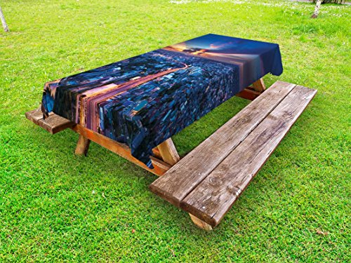 Ambesonne Urban Outdoor Tablecloth, Bangkok Skyline at Sunset Evening Thailand Cityscape Metropolis Architectural Photo, Decorative Washable Picnic Table Cloth, 58 X 104 Inches, Blue Coral (Furniture Outdoor Bangkok)