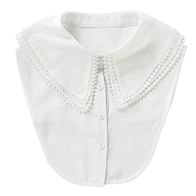 2Pcs Women/'s Embroidery Fake Half Shirt Detachable Blouse Collar Black+White