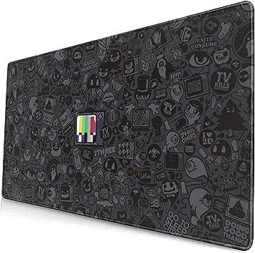 Televisor en Color en Negro Patrón de Dibujos Animados Gaming Mouse Pad, Largo Antideslizante Base de Goma Teclado Mouse Pad: Amazon.es: Electrónica