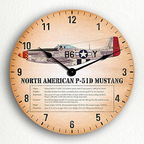 Classical Creations North American P-51D Mustang Aircraft 12 Wall Clock