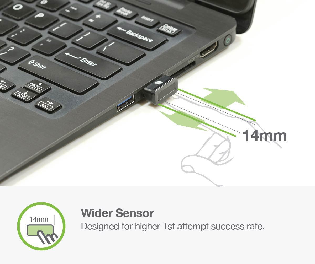 Idem FCC BioScan Compact USB Fingerprint Scanner for Fast Win10 Sign-in w/ Wide Sensor for Superb 1st Attempt Recognition, Anti-spoofing Protection, 360°Finger Readability, Multi Fingerprints Support