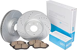 [Front Set] Performance Brake Disc Rotors & Ceramic Pads compatible with Toyota Tacoma 2005-2018 [6 Lugs] 4Runner 2003-2009 FJ Cruiser 2007-2014 [319mm Front Discs]