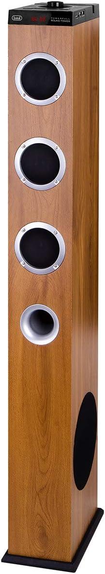 Trevi XT 10A8 BT Soundtower - Altavoz Amplificado a Torre 2.1, USB, SD, Entrada Auxiliar, conexión inalámbrica Bluetooth, Toma USB cargada, Mando a Distancia Full Control, Color Madera