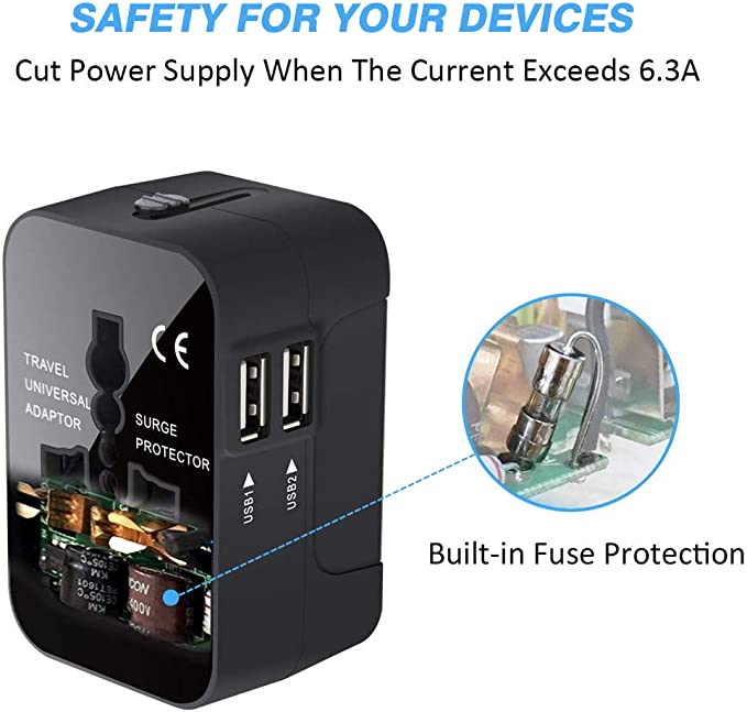 Cos2be Universal Travel Power Adapter and Converter with 3.4A 3 USB /& Type-C for UK EU US AUS Charger All in One AC Wall Plug Charger Blue