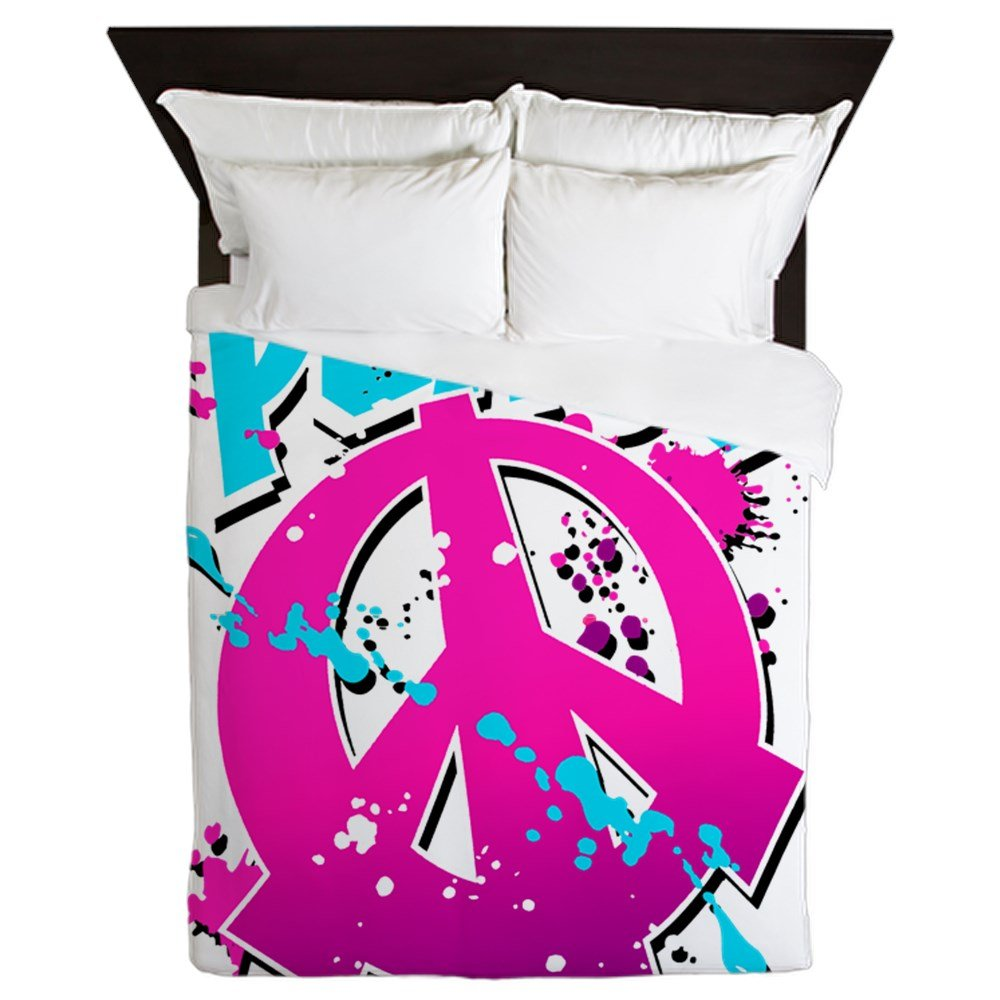 Queen Duvet Cover Peace Symbol Sign Splatter Neon by Royal Lion