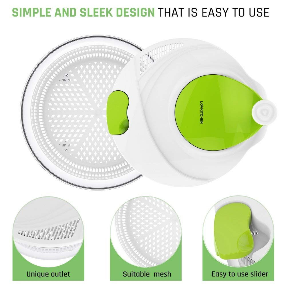Salad Spinner Dryer,LOVKITCHEN Vegetables & Fruits Dryer with Large 4 Quarts & Quick Dry Design BPA,Ease for Tastier Salads and Faster Food Prep by Lovkitchen (Image #3)