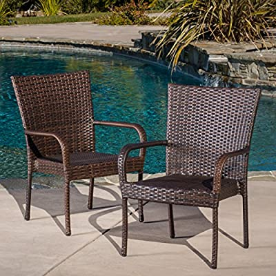 Christopher Knight Home CKH Outdoor Wicker Stackable Club Chairs, 2-Pcs Set, Multibrown - CONTEMPORARY: Our dining chair set has the look, feel, and design of contemporary style with its thin legs and woven wicker look. With a classy and functional design, these chairs will give your outdoor space an instant upgrade in style and comfort. POLYETHYLENE RATTAN: Featuring a long-lasting woven finish, this style is not only incredibly durable but also provides a versatile appearance. The handcrafted details of this material allow this piece to blend seamlessly with your outdoor decor. STACKABLE: These chairs are stackable, allowing you to place these atop one another when not in use. This lets you easily store these chairs so that you can save valuable space for when the party really gets going. - patio-furniture, patio-chairs, patio - 61Z7Clcw9QL. SS400  -