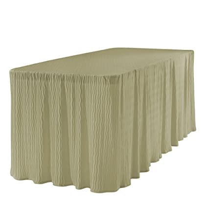 6 Foot Folding Table Cloth Champagne 30x72x29