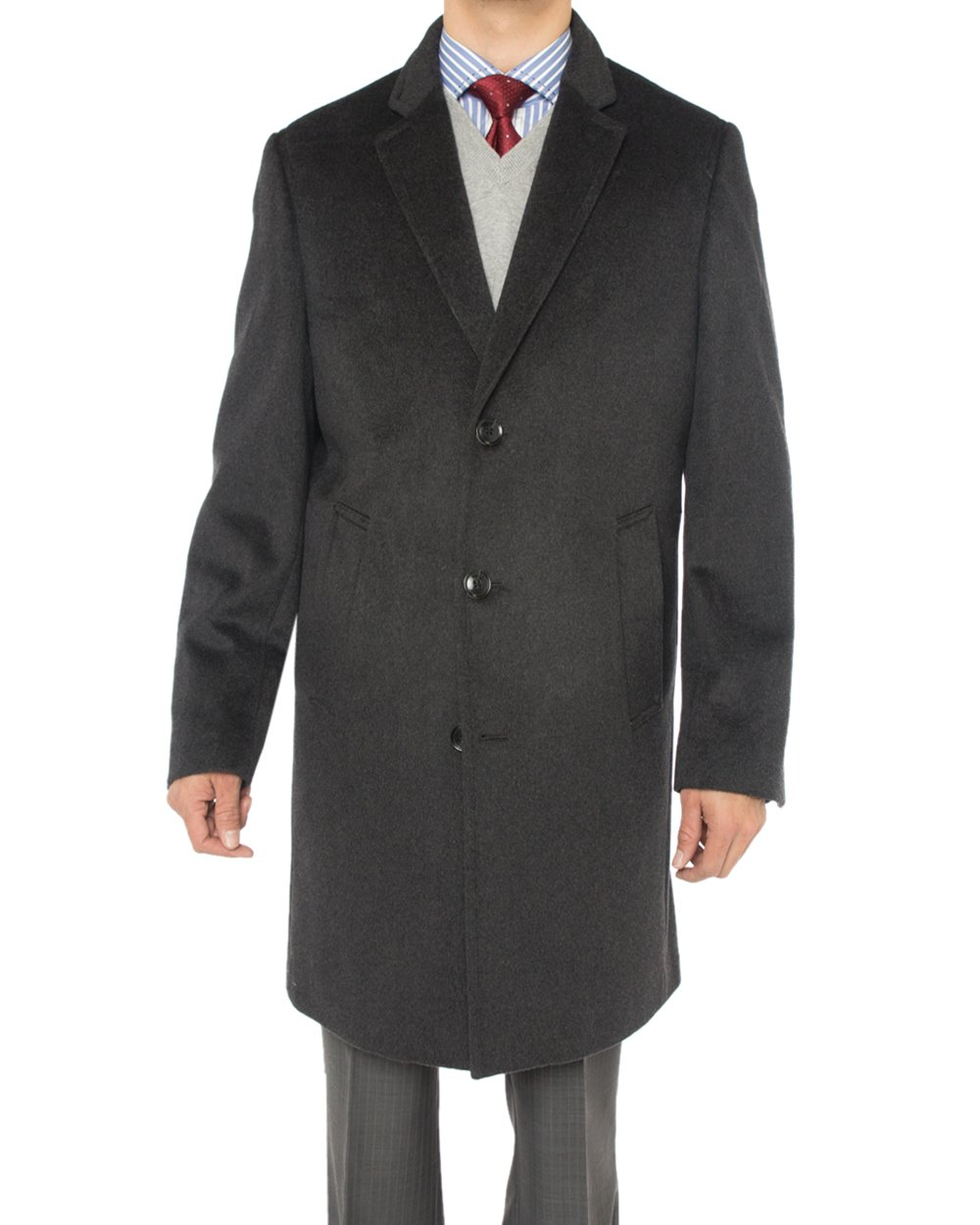 Luciano Natazzi Men's Cashmere Wool Overcoat Knee Length Trench Coat Topcoat (52 US - 62 EU, Charcoal Gray)