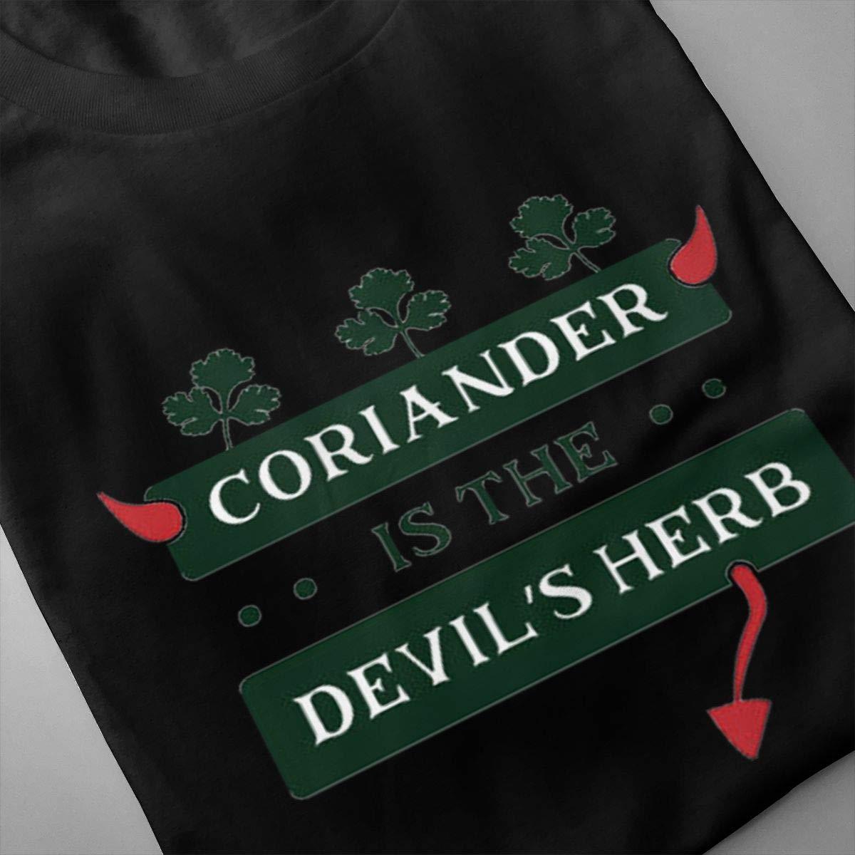 Marsherun Mens Coriander is The Devils Herb Comfortable Short Sleeve Shirts