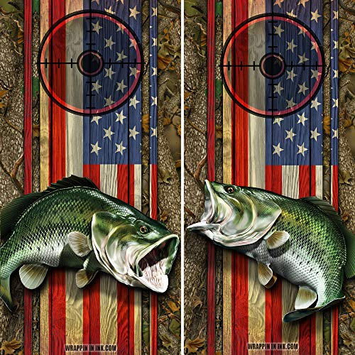 Bass Hot Rod - Speed Demon Hot Rod Shop Cornhole Board Wraps ~ American Flag and Camo with Large Mouth Bass Fish Corn Hole Boards Laminated Decal Wraps (Set of 2) #02/01