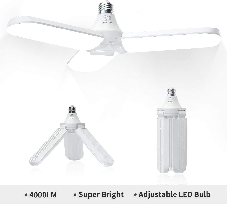 Super Bright 6000LM Working Light for Garage DiCUNO LED Garage Light 60W Workshop Basement Workbench Warehouse Deformable LED Ceiling Light E26 Daylight White 5000k