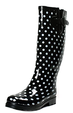 OwnShoe Polka Dot Rain Boots Black Knee High Womens Rubber Shoes (9)