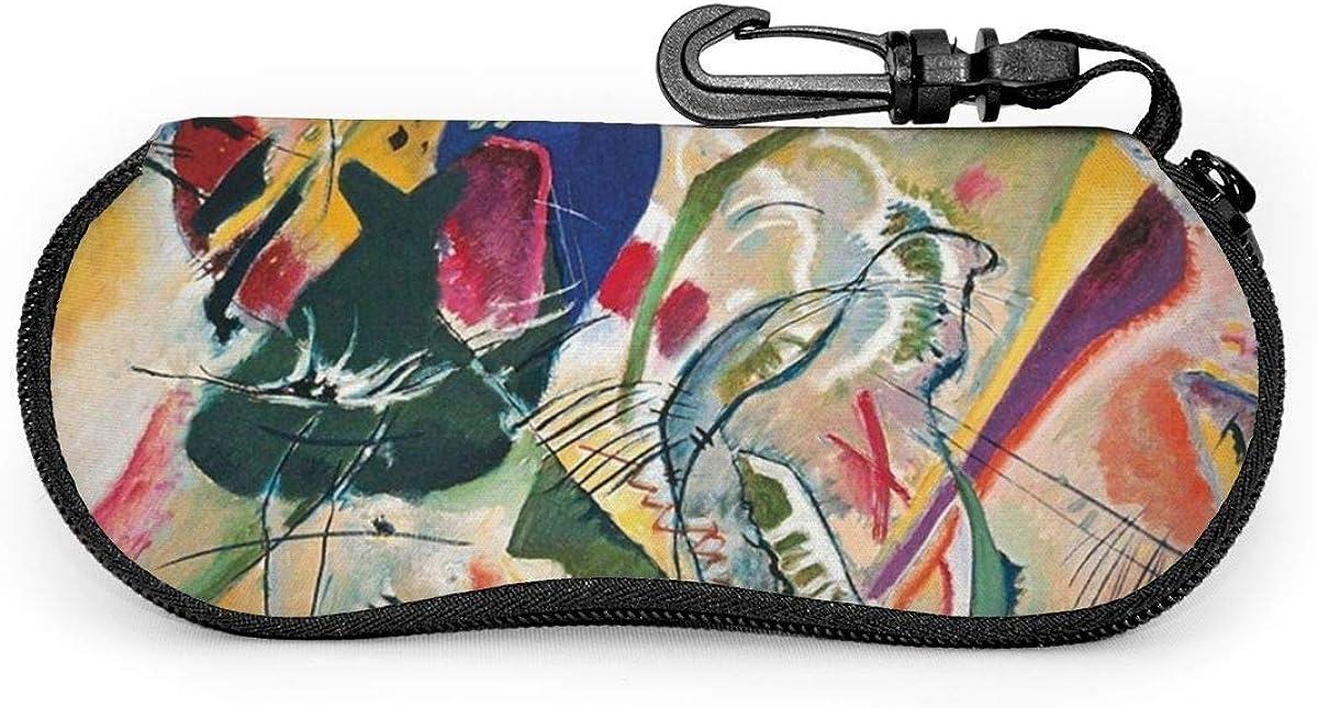 HHJJI Famosa pintura de bellas artes abstractas de gafas de sol de improvisación Estuche blando Cremallera Estuche para gafas Soporte protector con clip para cinturón