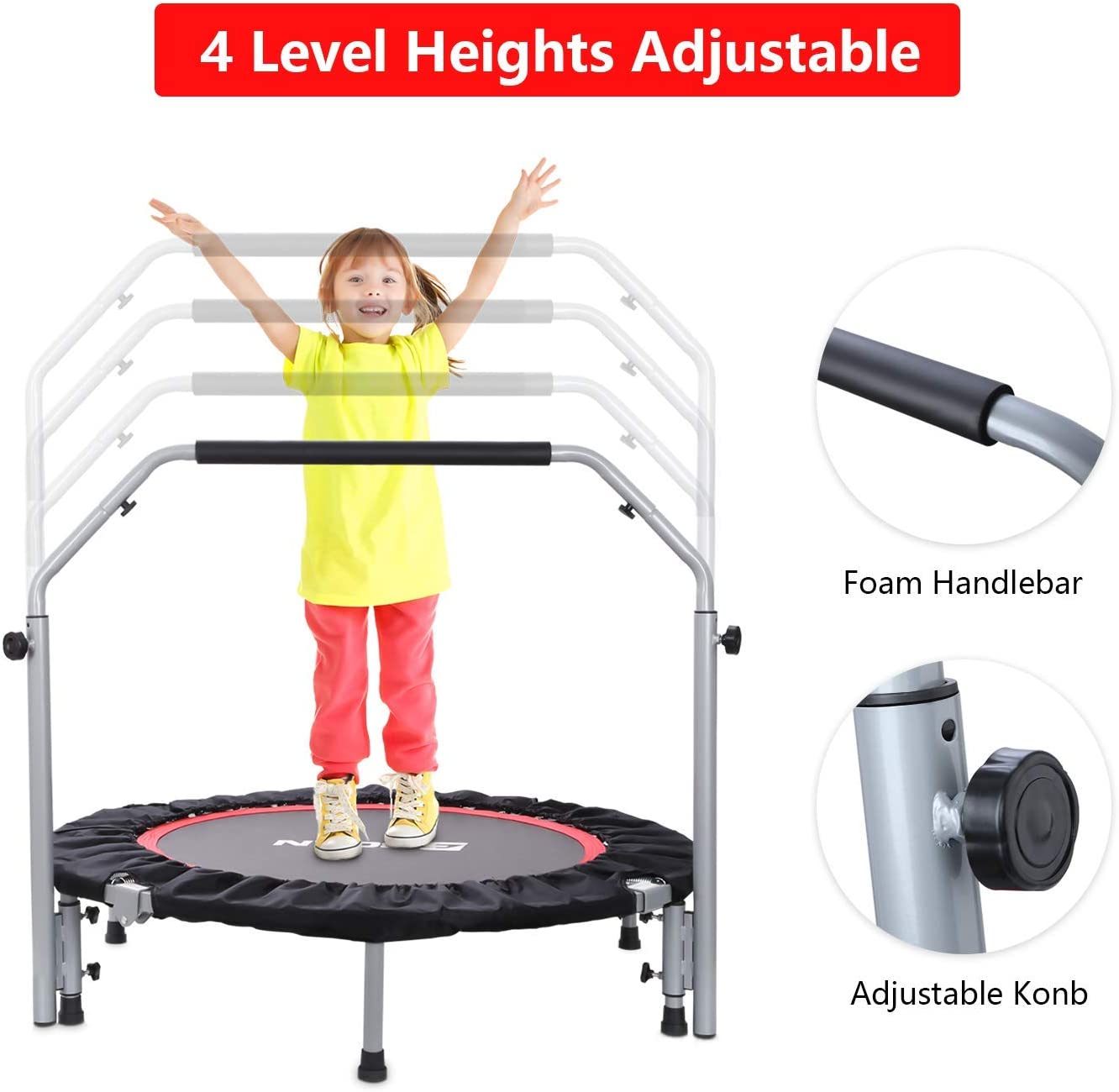 BCAN 40 Foldable Mini Trampoline, Fitness Rebounder with Adjustable Foam Handle, Exercise Trampoline for Kids Adults Indoor Garden Workout Max Load 330lbs
