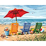 Thouet 5D Diamond Embroidery Painting Beach Chair Trio Drill Cross Stitch DIY Diamond Painting Kits
