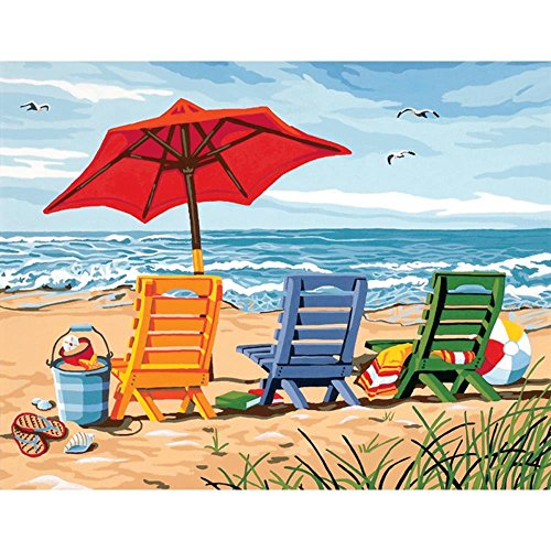Thouet 5D Diamond Embroidery Painting Beach Chair Trio Drill Cross Stitch DIY Diamond Painting Kits by Thouet