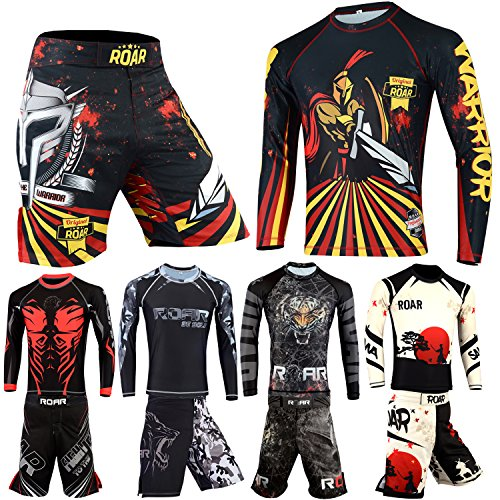 - Roar MMA Rash Guard BJJ Grappling Shorts UFC Cage Fight No Gi Training Wear (Battle, XLarge)