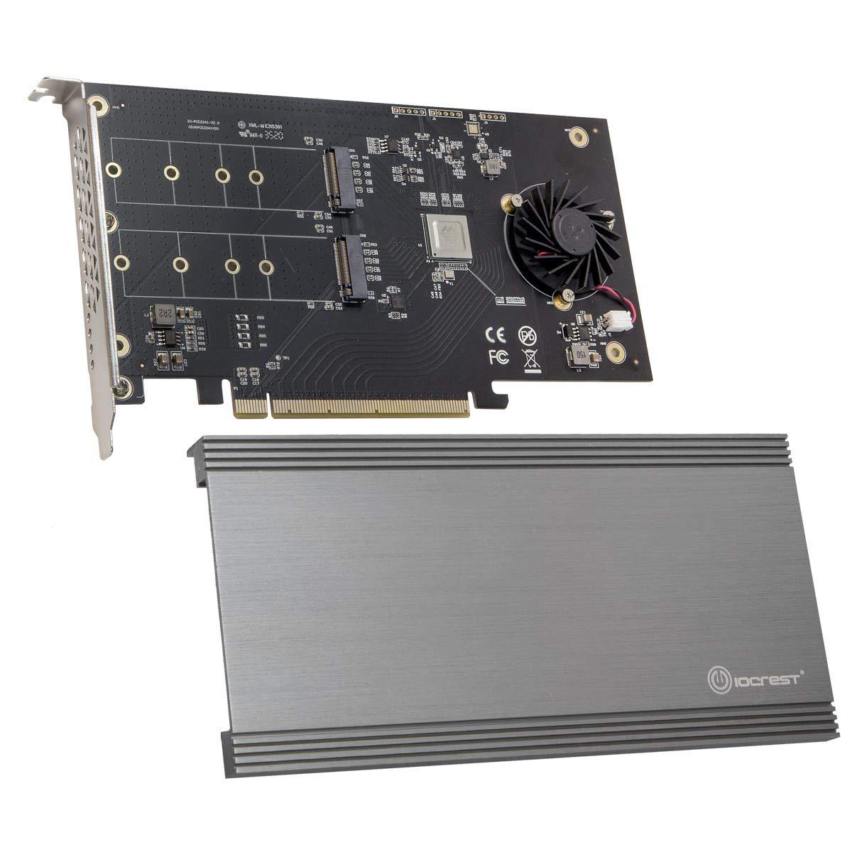 IO CREST Dual M.2 NVMe Puertos RAID a PCIe 3.0 X16 Interface