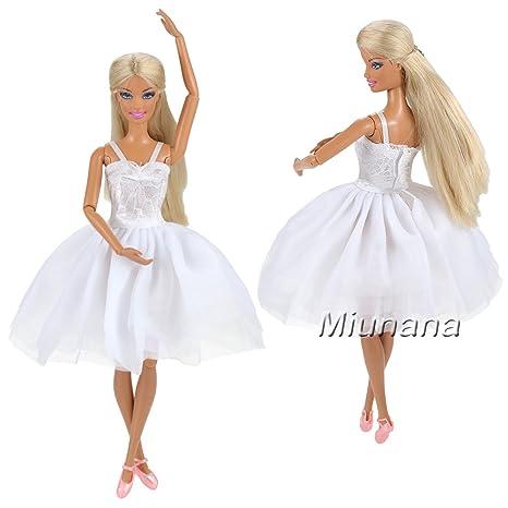 Pour Poupée Bretelle Avec Blanche Princess Robe Courte Dentelle Barbie En Miunana Mode XiPTZkuO