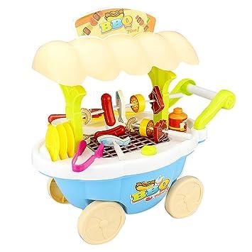 D DOLITY Carrito de Helados en Miniatura Juego de Parrilla de Pretensión Juguete Imaginativo para Niños: Amazon.es: Juguetes y juegos