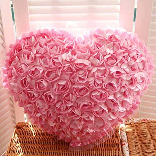 Jiuhexu Love Heart Shape 3D Rose Flower Soft Fluffy Throw Pillows Cushions - Pink Heart Flowers Shaped