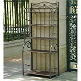 Outdoor Bakers Rack in Antique Brown Finish
