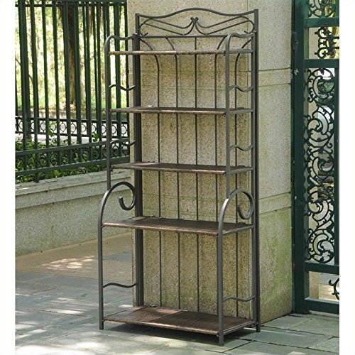 International Caravan Valencia Bakers Rack in Antique Brown (Racks Bakers Antique)