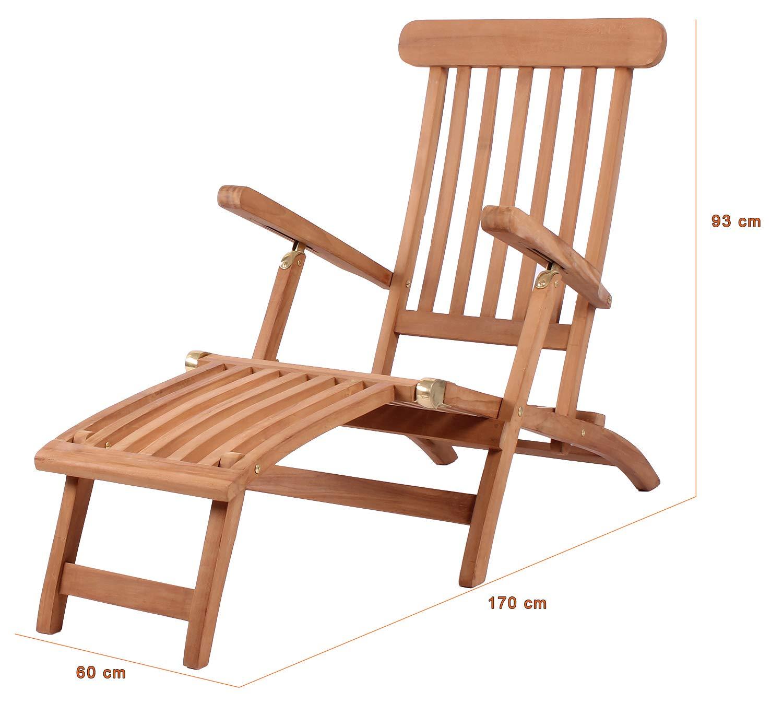 Mr Deko Teak Liegestuhl Deckchair Teak Bear Chair Liegestuhl