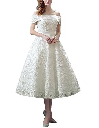 Favors Women's Off Shoulder Bateau Tea Length Lace Wedding Dress