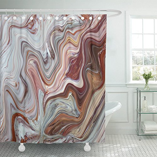 Emvency Shower Curtain Gray Abstract Marble in Natural Patterned for and Design Antique Architecture Waterproof Polyester Fabric 72 x 72 inches Set with Hooks