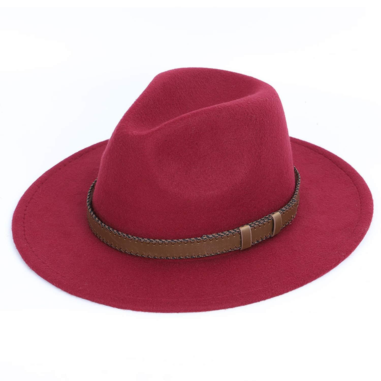 Women Men Fedoras Top Round hat Autumn Winter Imitation Wool Wide Brim hat Ladies Bowler Hats