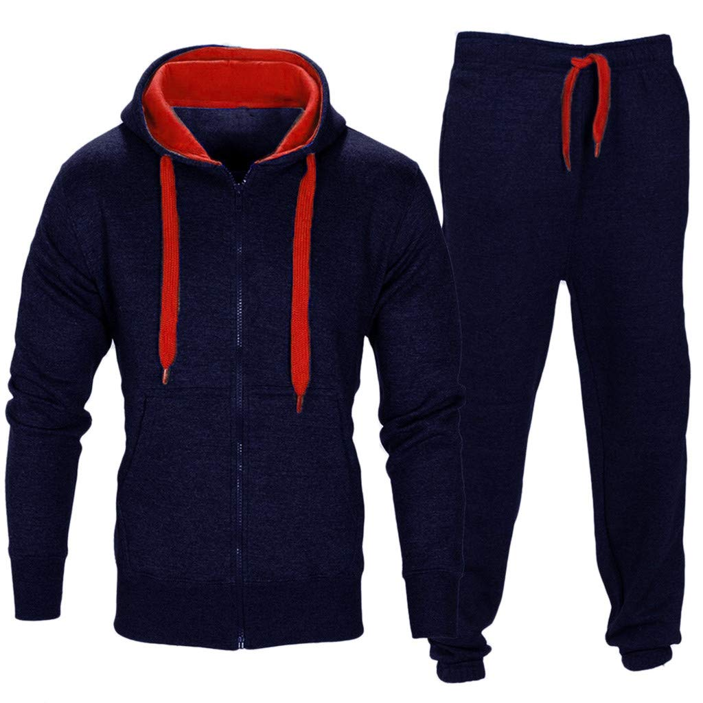 Men Casual Zip Hoodie Sweatshirt Jacket Trousers Jogging Sports Tracksuit Sets (XL, Navy)