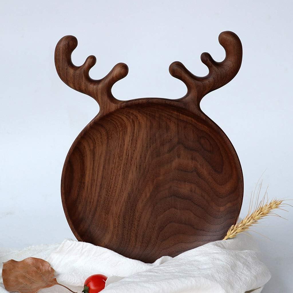 RUI JIAN ブラックウォールナットの動物の形のトレイ朝食プレートナット料理、手作り、ウォールナットトレイ