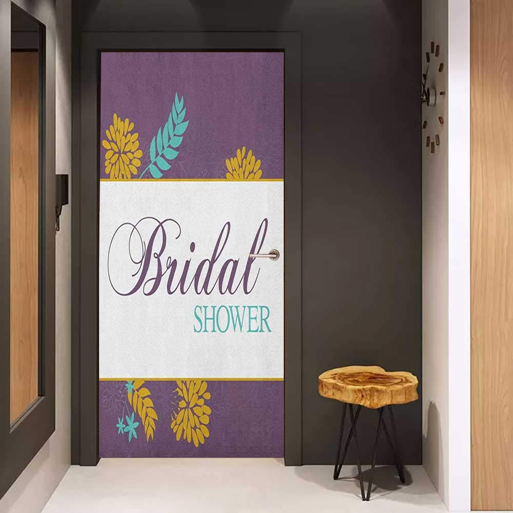 Onefzc Pantry Sticker for Door Bridal Shower Farm Village Abstract Flowers Bride Party Celebration Image Sticker Removable Door Decal W32 x H80 Purple Sky Blue and Marigold by Onefzc