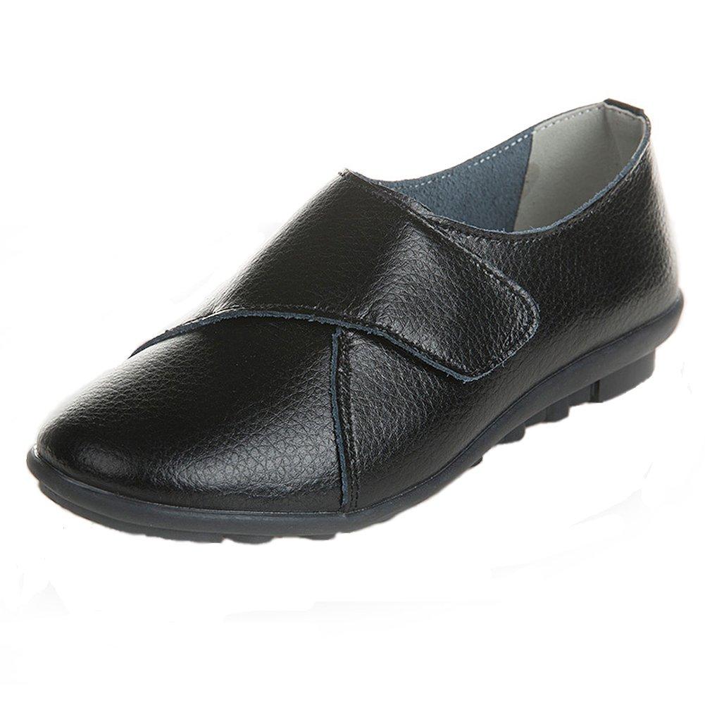 Yooeen Damen Mokassin Bootsschuhe Leder Arbeitsschuhe Freizeit Flache Loafers Halbschuhe Fahren Sandalen Klettverschluss Erbsenschuhe