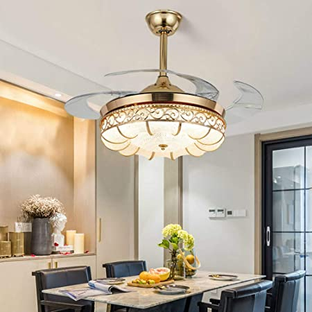 "42/"" Modern Fan Chandelier Light Lamp LED Invisible Fan Ceiling Dining Room"