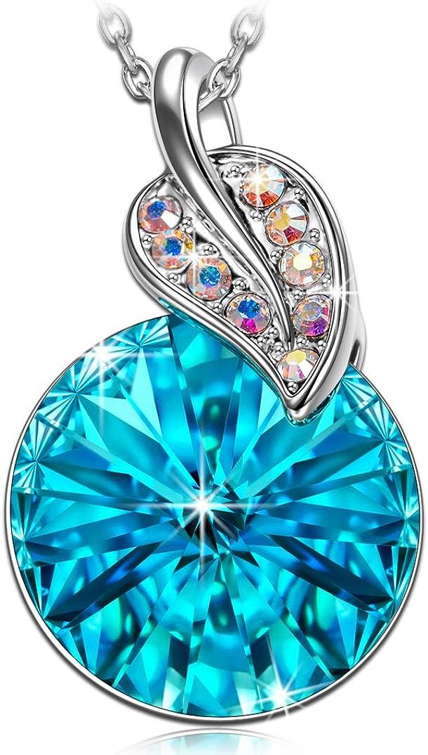 Kami Idea Collar, Deseando Roca, Chapado en Platino, Cristal Redondo Azul de Swarovski, Embalaje de Regalo, Regalos para Mamá