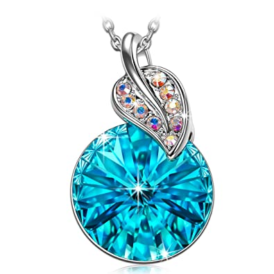Graduation Gifts For Her 2018 Clover Wish Stone Swarovski Pendant Blue Crystals Necklaces Jewelry Teacher