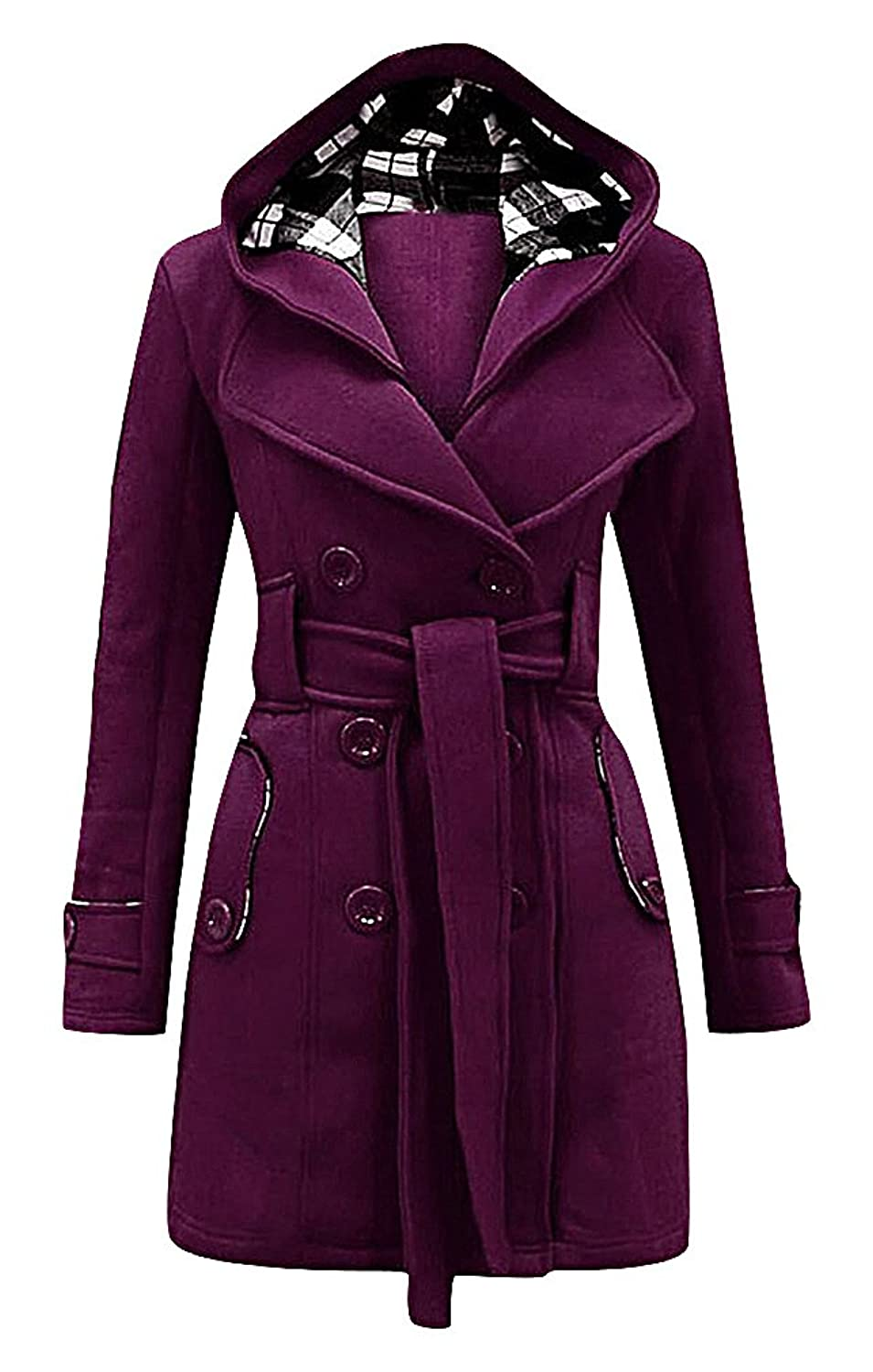 Maze, Women's Double Breasted Notch Collar Warm Belted Plaid Hood Trench Coat