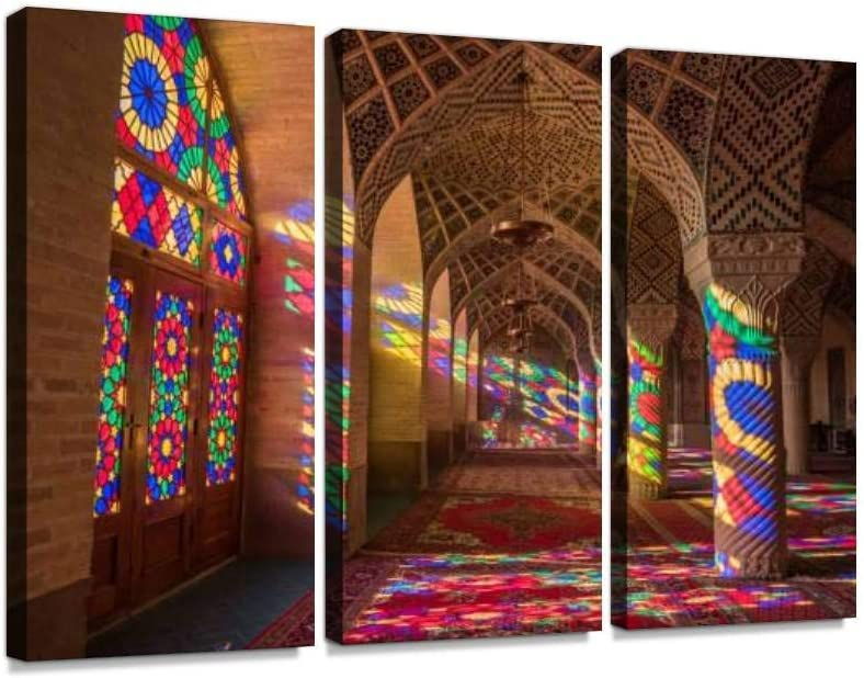 YKing1 Nasir Al Mulk Mosque Pink Mosque in Shiraz, Iran Wall Art Painting Pictures Print On Canvas Stretched & Framed Artworks Modern Hanging Posters Home Decor 3PANEL