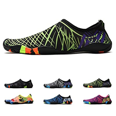 "Amazon.com | Anti-Slip Water Shoes for Men Women Little Kid, Barefoot Shoes Quick Dry (10.5 M/W US Little Kid=6.69"" Foot, Green Strips) 