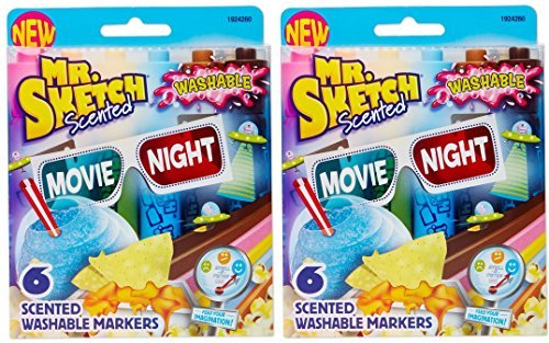 Mr. Sketch (1924260) Washable Scented Watercolor Markers, Chisel-Tip, 6 Count, Movie Night Colors (Set of 2 Packages)